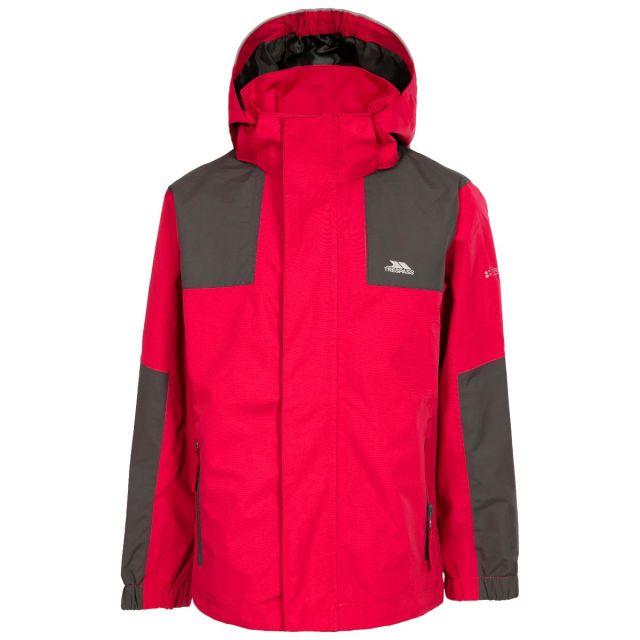 Farpost Kids' Waterproof Jacket in Red, Front view on mannequin