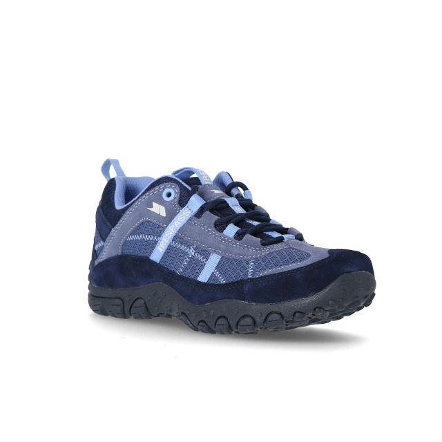 Fell Women's Breathable Walking Shoes in Navy, Angled view of footwear