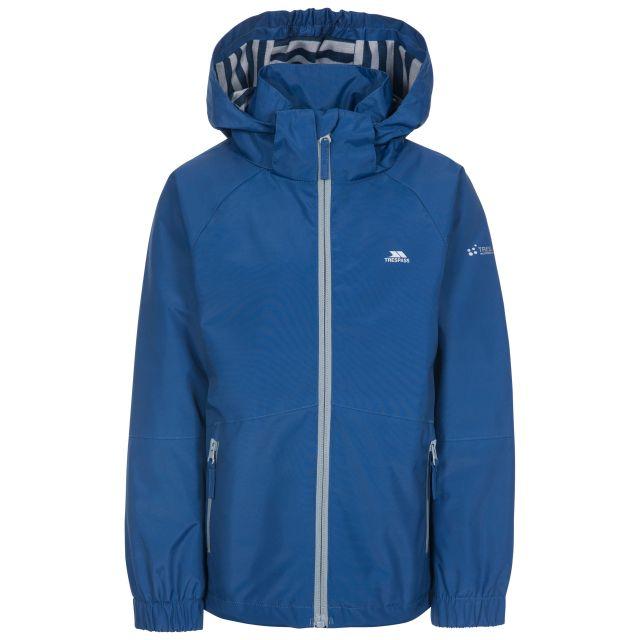 Fenna Kids' Waterproof Jacket in Blue, Front view on mannequin