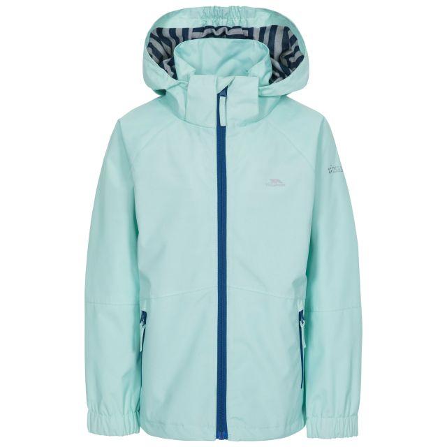 Fenna Kids' Waterproof Jacket in Light Green, Front view on mannequin