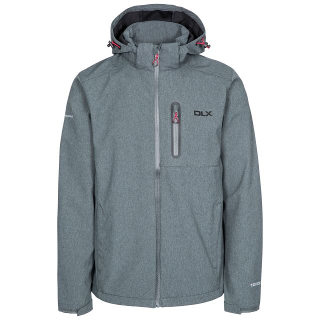 Ferguson II Men's DLX Breathable Softshell Jacket in Grey, Front view on mannequin