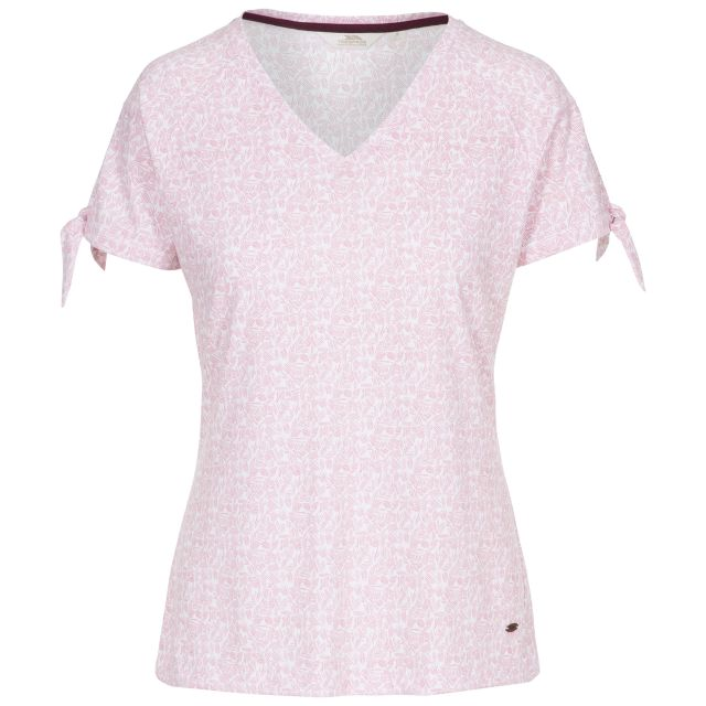 Fernie Women's V-Neck T-Shirt in Pink, Front view on mannequin