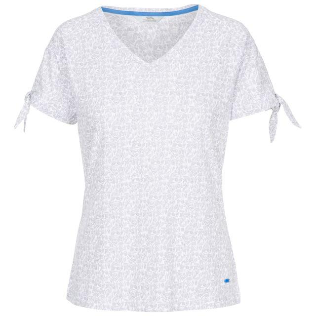 Fernie Women's V-Neck T-Shirt in Light Grey, Front view on mannequin