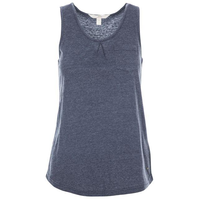 Fidget Women's Sleeveless T-Shirt in Navy, Front view on mannequin