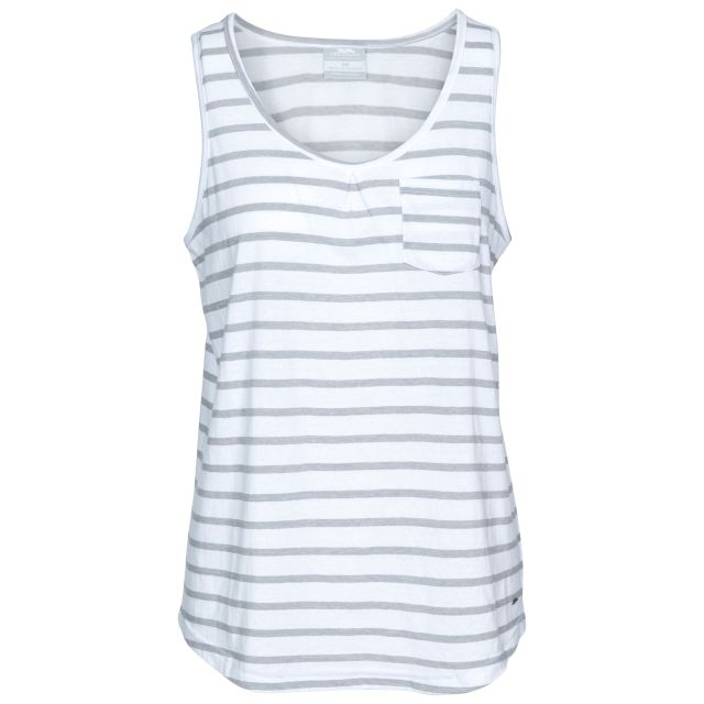 Fidget Women's Sleeveless T-Shirt in White, Front view on mannequin