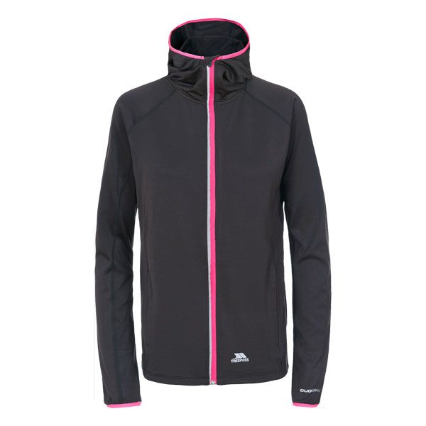Finchie Women's Active Jacket in Black, Front view on mannequin
