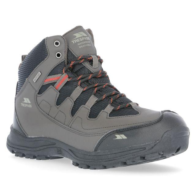 Finley Men's Waterproof Walking Boots in Brown, Angled view of footwear