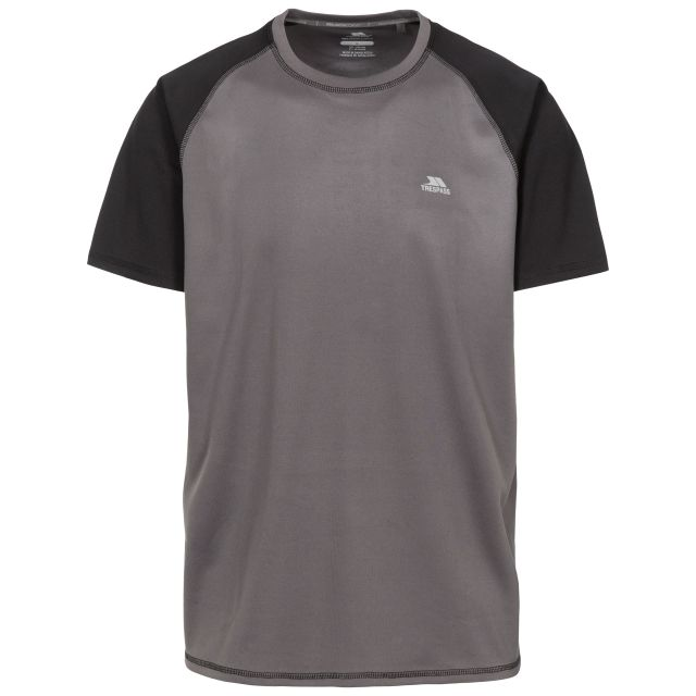 Firebrat Men's Quick Dry Active T-shirt in Grey, Front view on mannequin
