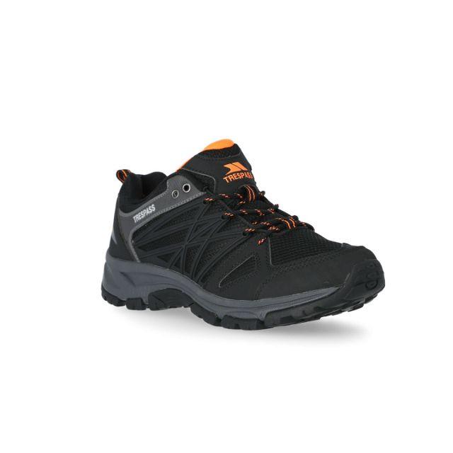 Fisk Men's Walking Shoes in Black, Angled view of footwear