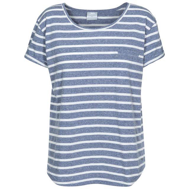Fleet Women's Striped T-Shirt in Navy, Front view on mannequin