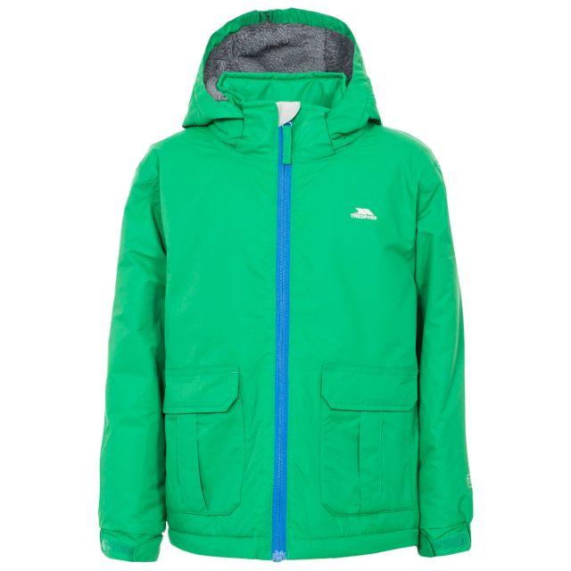 Flemington Boys' Waterproof Jacket in Green, Front view on mannequin