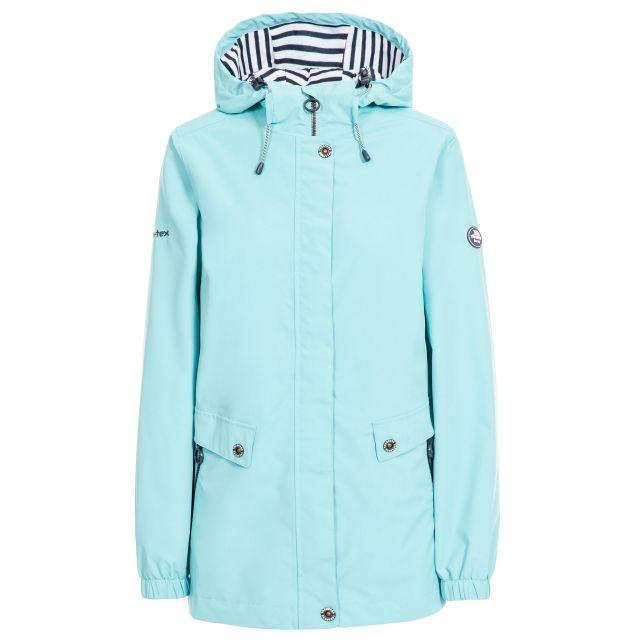 Trespass Womens Waterproof Jacket with Hood Flourish Aqua, Front view on mannequin