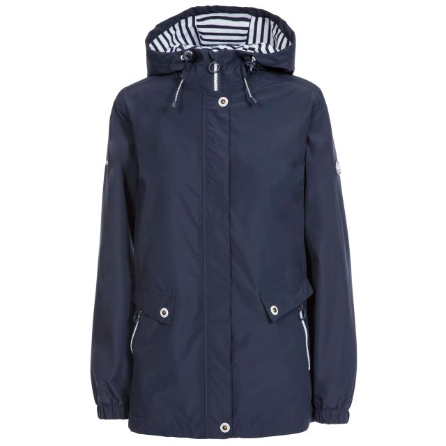 Trespass Womens Waterproof Jacket with Hood Flourish Navy, Front view on mannequin