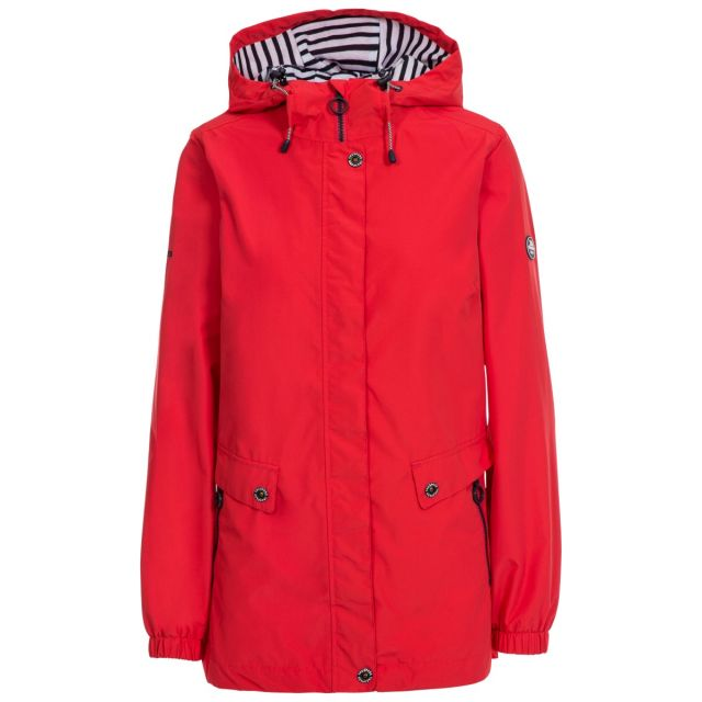 Trespass Womens Waterproof Jacket with Hood Flourish Red, Front view on mannequin