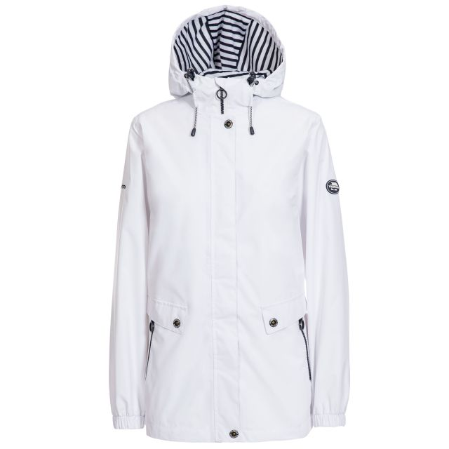 Trespass Womens Waterproof Jacket with Hood Flourish White, Front view on mannequin