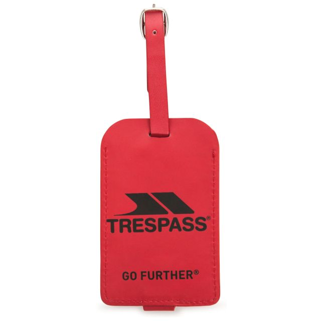 Faux Leather Luggage Tag in Red, Front view