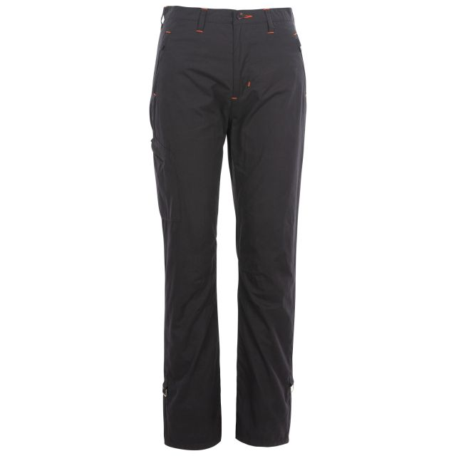Footfall Women's Cargo Trousers in Black, Front view on mannequin
