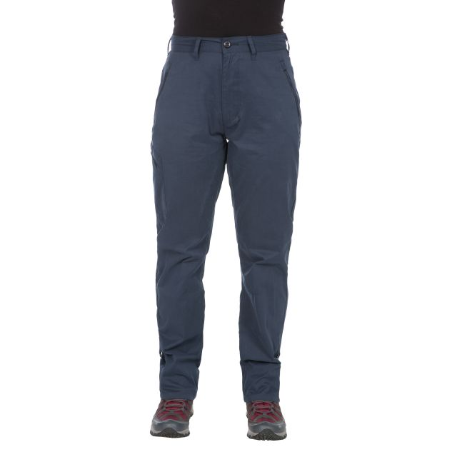 Footfall Women's Cargo Trousers in Navy, Back view on mannequin
