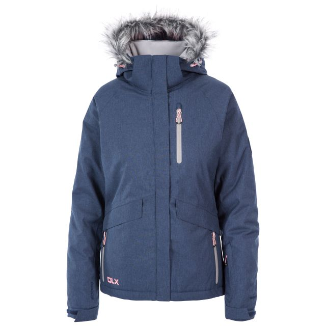 DLX Womens Waterproof Ski Jacket with RECCO Francesca Navy, Front view on mannequin
