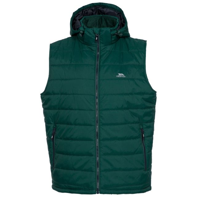 Franklyn Men's Hooded Gilet in Green, Front view on mannequin