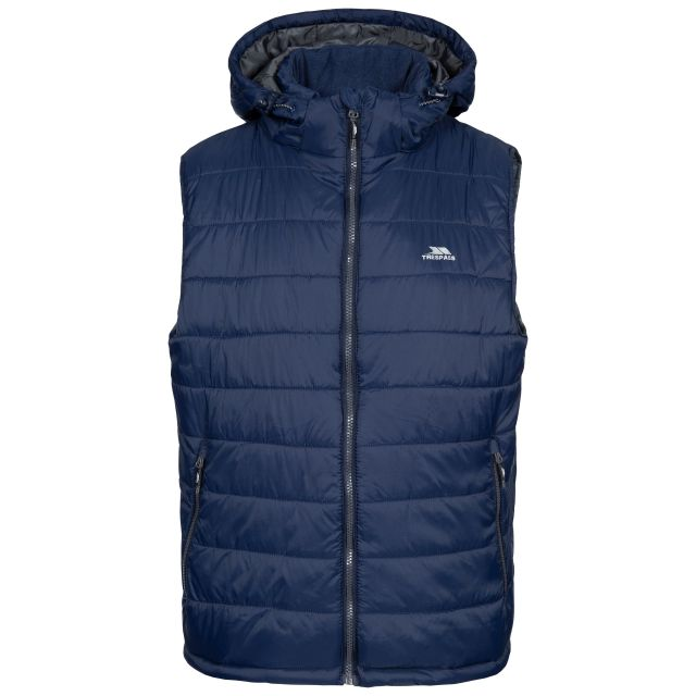Franklyn Men's Hooded Gilet in Navy, Front view on mannequin