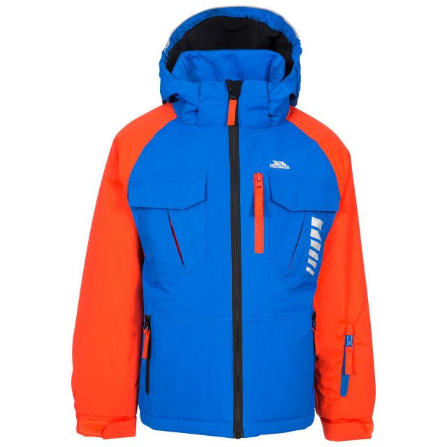 Freebored Kids' Ski Jacket in Blue, Front view on mannequin