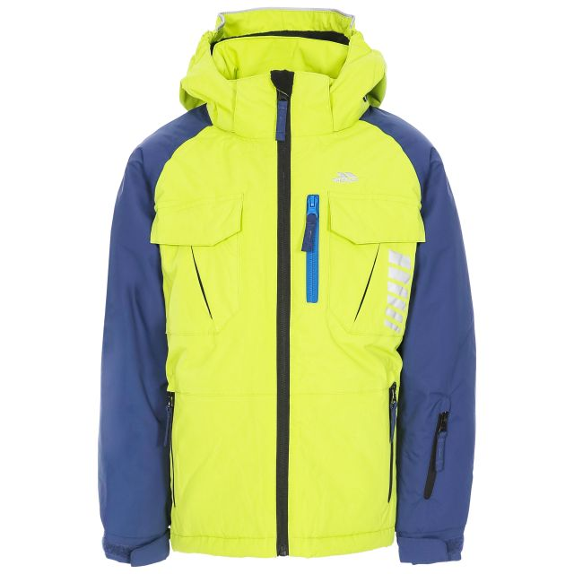 Freebored Kids' Ski Jacket in Green, Front view on mannequin