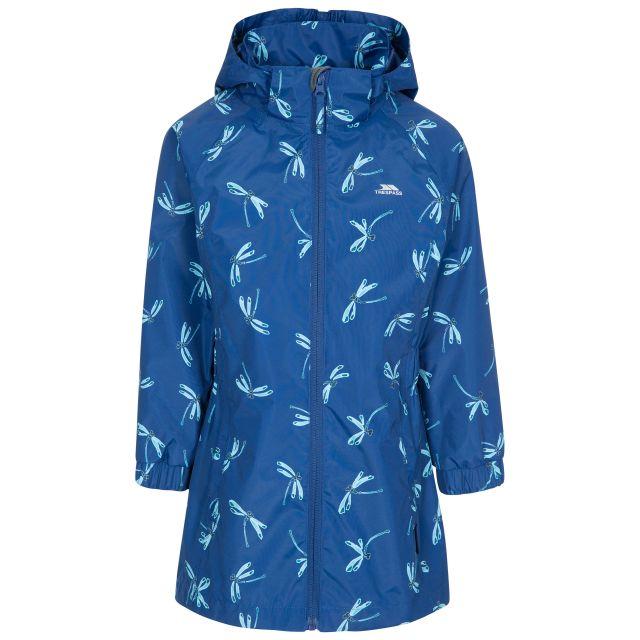 Frejja Kids' Painted Waterproof Jacket in Blue, Front view on mannequin