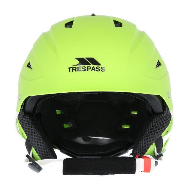 Furillo Adults' Lime Green Ski Helmet, Angled view of helmet
