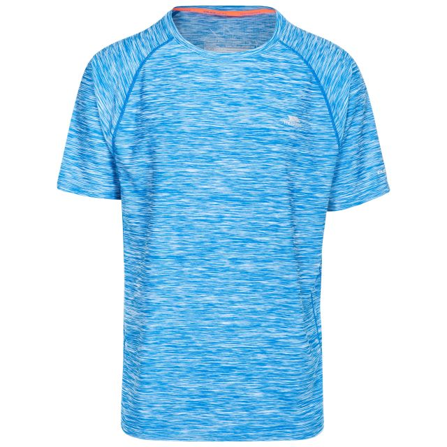 Gaffney Men's Quick Dry Active T-shirt in Blue, Front view on mannequin