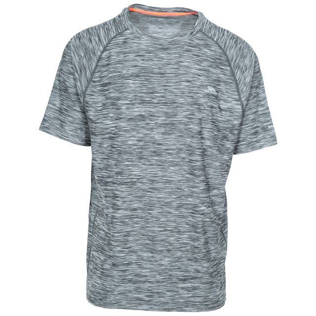 Gaffney Men's Quick Dry Active T-shirt in Grey, Front view on mannequin