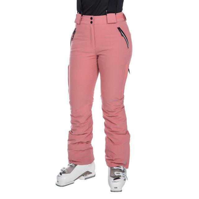 Galaya Women's Waterproof Ski Trousers in Pink, Waist detail on model