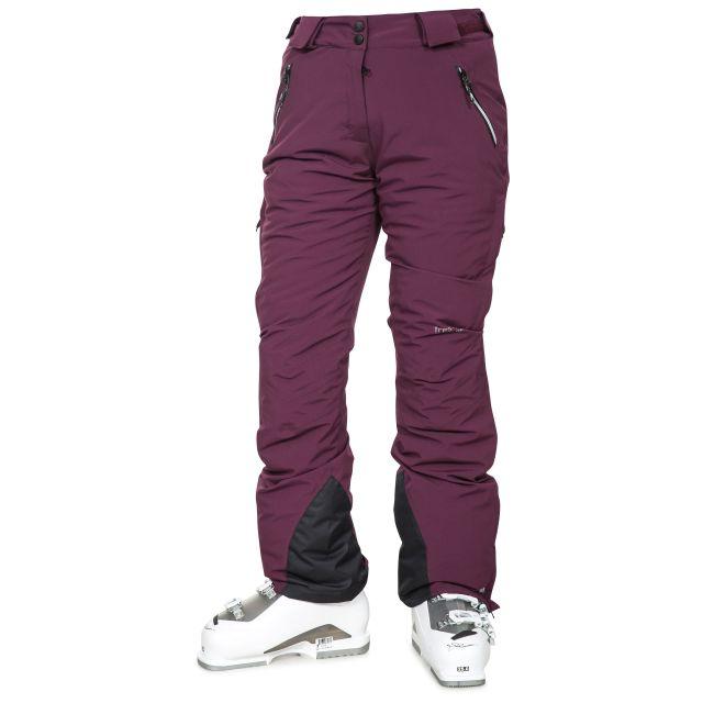 Galaya Women's Waterproof Ski Trousers in Purple, Front view on model