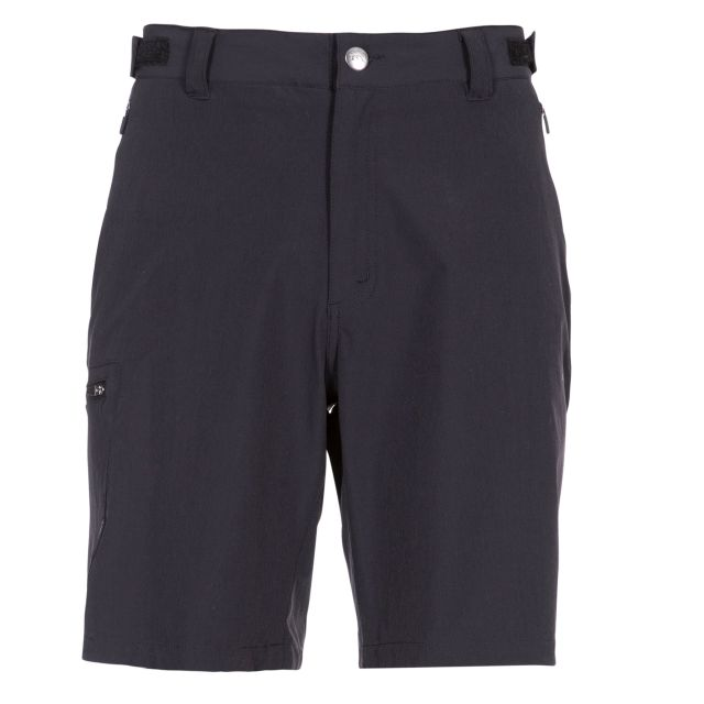 Gatesgillwell Men's Cargo Shorts in Black, Front view on mannequin
