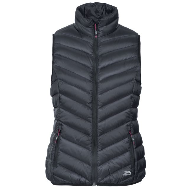 Trespass Womens Down Gilet Giana in Black, Front view on mannequin