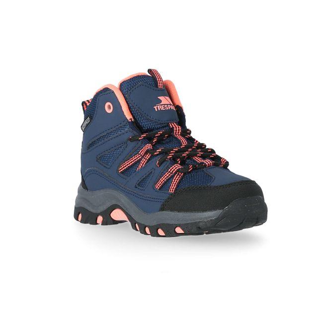 Gillon Kids' Waterproof Walking Boots in Navy, Angled view of footwear