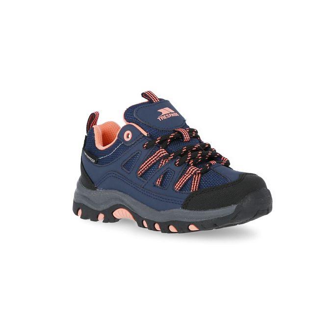 Gillon Kids' Waterproof Walking Shoes in Navy, Front view of footwear
