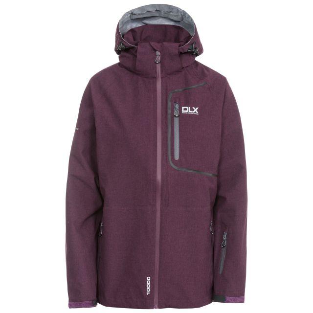 DLX Womens Softshell Jacket Gita II in Purple, Front view on mannequin