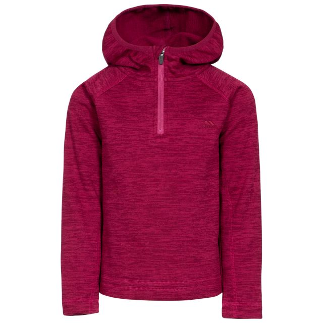 Gladdner Kids' Hooded Fleece in Red, Front view on mannequin