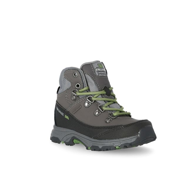 Glebe II Kids' Walking Boots in Grey, Angled view of footwear