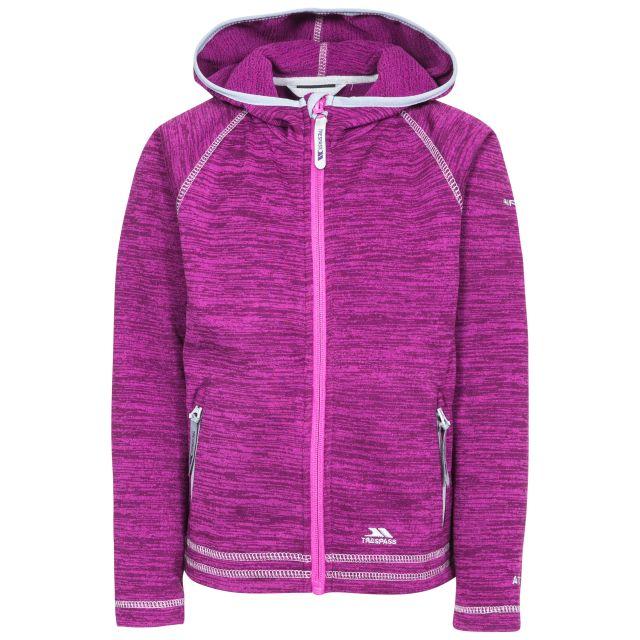 Trespass Kids Fleece Jacket with Hood Full Zip Goodness Purple, Front view on mannequin