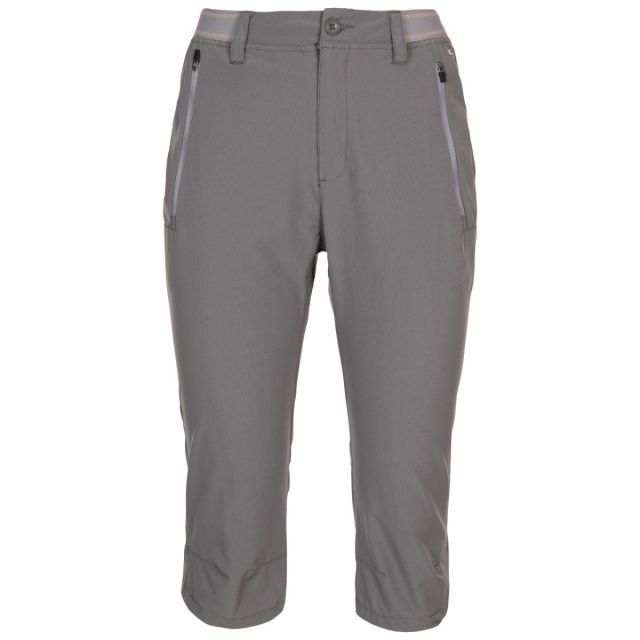 Trespass Women's Quick Dry 3/4 Trousers Grateful Grey, Front view on mannequin