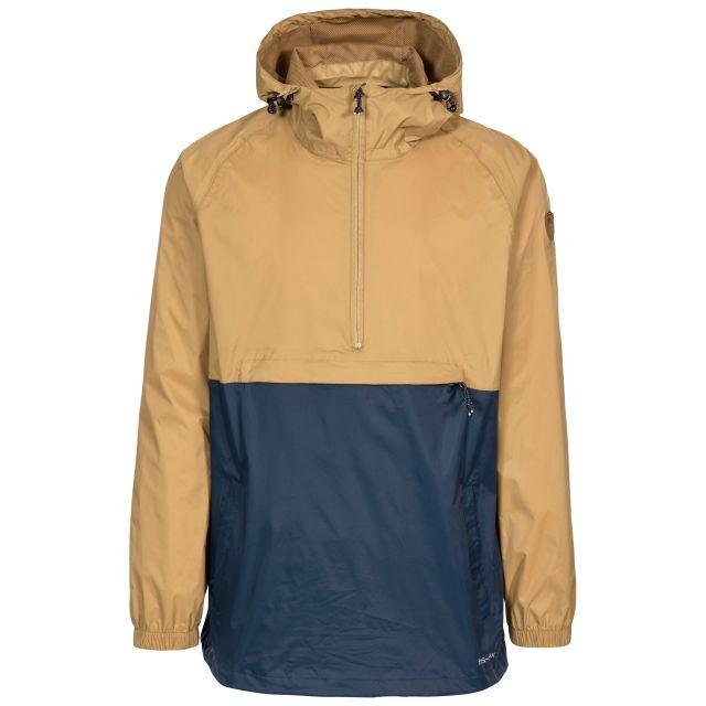 Gusty Men's Waterproof Packaway Jacket in Tan, Front view on mannequin