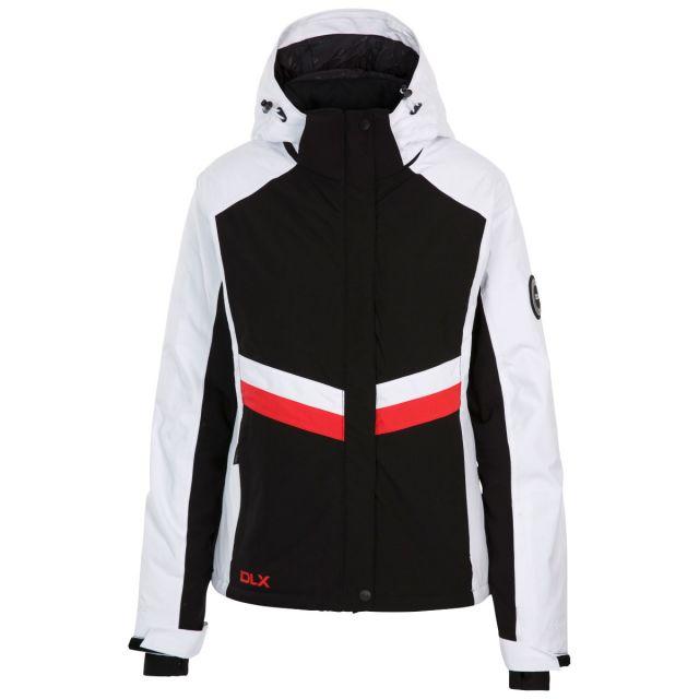 DLX Trespass Womens Ski Jacket Waterproof Gwen in Black, Front view on mannequin