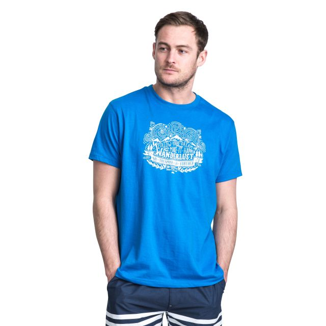 Hainey Men's Printed Casual T-Shirt in Blue, Back view on model