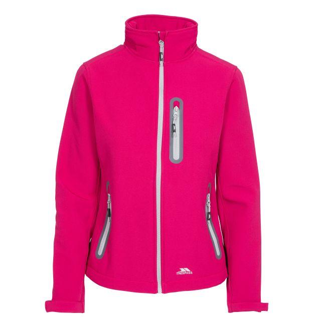 Trespass Womens Softshell Jacket Lightweight Hallie in Pink, Front view on mannequin
