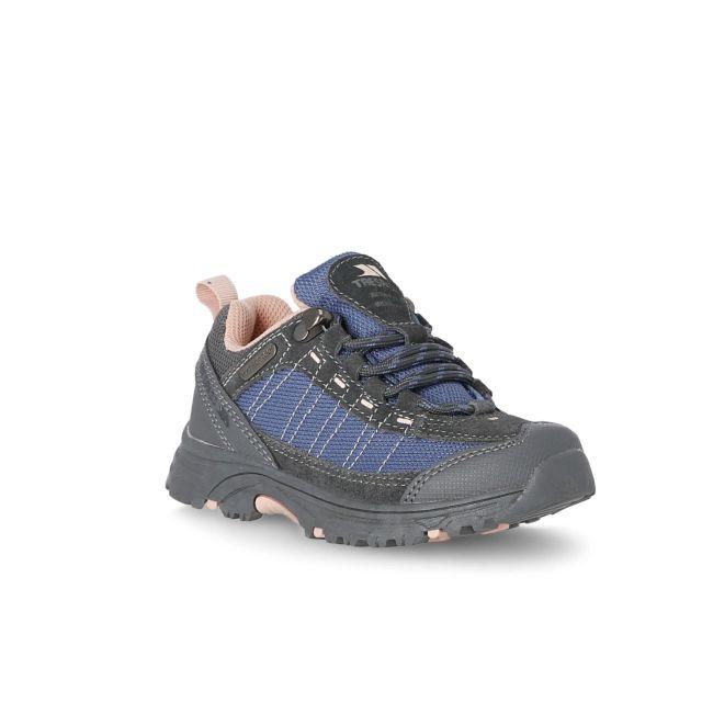 Hamley Kids' Waterproof Walking Shoes in Light Pink, Angled view of footwear