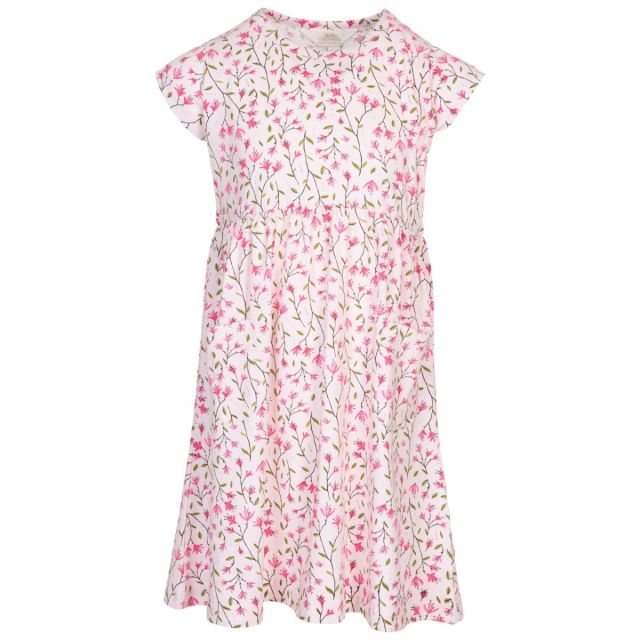 Trespass Kids Short Sleeve Dress Floral Print Happiness, Front view on mannequin