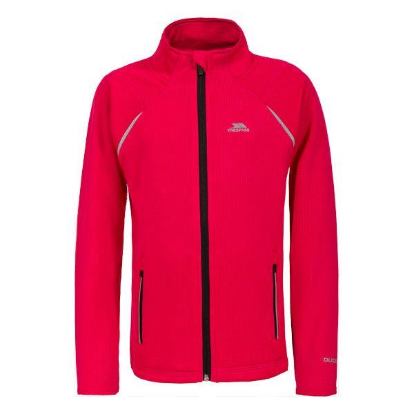 Harbird Kids' Full Zip Fleece Jacket in Pink, Front view on mannequin
