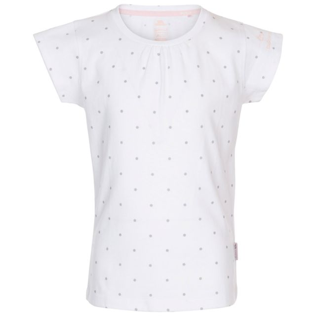 Trespass Kids' Quick Dry T-Shirt Harmony White Pale Grey Dot, Front view on mannequin